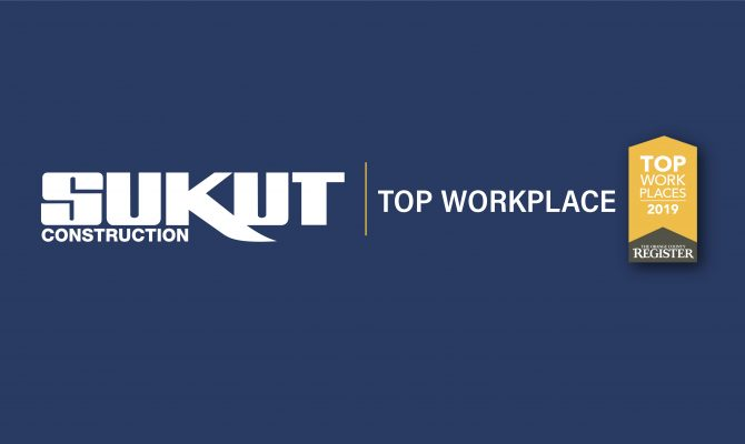 Sukut Construction Ranked Fifth Top Workplace by the Orange County Register